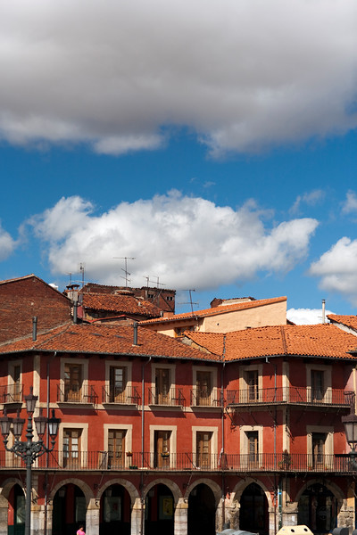 Typical architecture, Main Square, town of Leon, autonomous community of Castilla y Leon, northern Spain