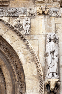 Romanesque carving on a doorway, San Isidoro basilica, town of Leon, autonomous community of Castilla y Leon, northern Spain