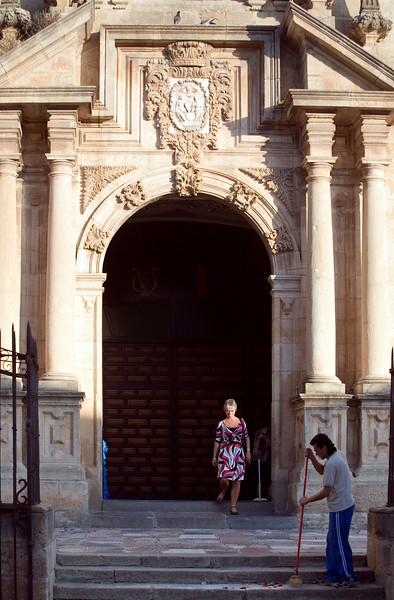Santa Cecilia church entrance, town of Ronda, province of Malaga, Andalusia, Spain