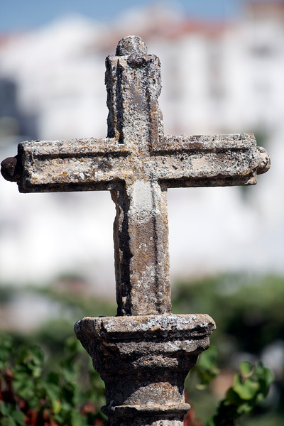 Stone cross, town of Ronda, province of Malaga, Andalusia, Spain