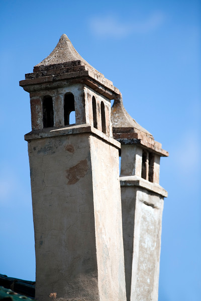 Traditional chimneys, town of Ronda, province of Malaga, Andalusia, Spain
