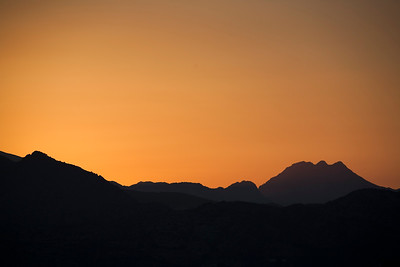 Mountains at sunset, Ronda, province of Malaga, Andalusia, Spain