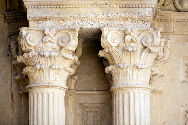 Column detail, facade of the Palace of the Marquis of Salvatierra, town of Ronda, province of Malaga, Andalusia, Spain