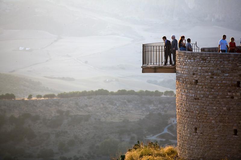 Visitors looking at El Tajo gorge, town of Ronda, province of Malaga, Andalusia, Spain