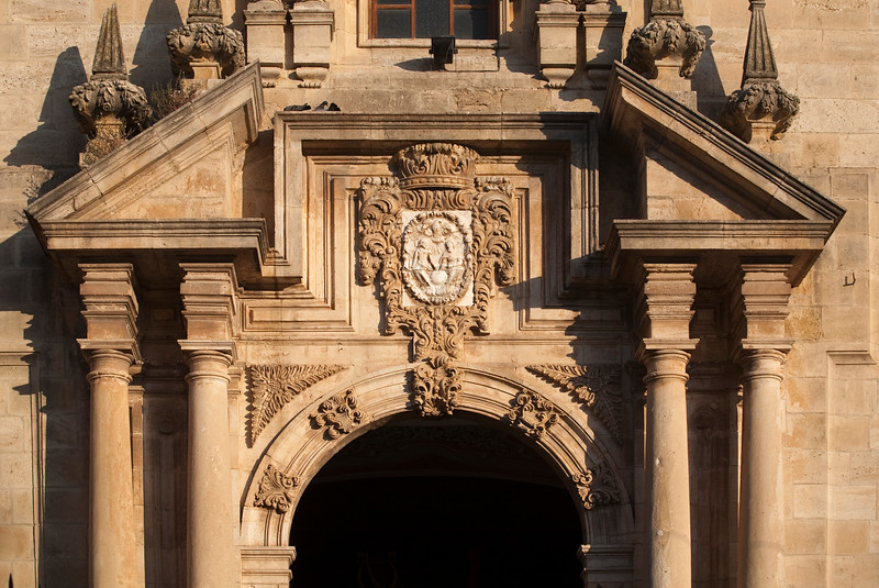 Detail from the baroque facade of Santa Cecilia church, town of Ronda, province of Malaga, Andalusia, Spain