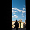 San Blas church (now auditorium) through the door of Fonseca college, town of Salamanca, autonomous community of Castilla and Leon, Spain