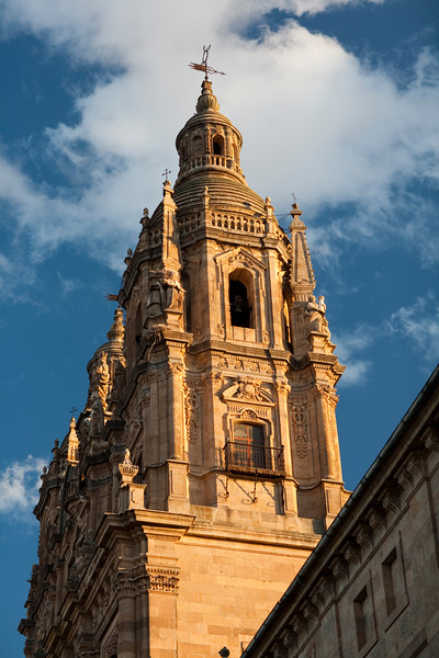 Baroque tower of the Clerecia (Clergy) church, 18th century, town of Salamanca, autonomous community of Castilla and Leon, Spain