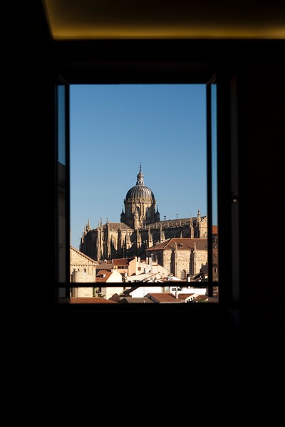 Framed view through a window of the New Cathedral, town of Salamanca, autonomous community of Castilla and Leon, Spain