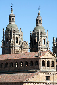 Clergy church twin towers and the Pontifical University on the foreground, town of Salamanca, autonomous community of Castilla and Leon, Spain