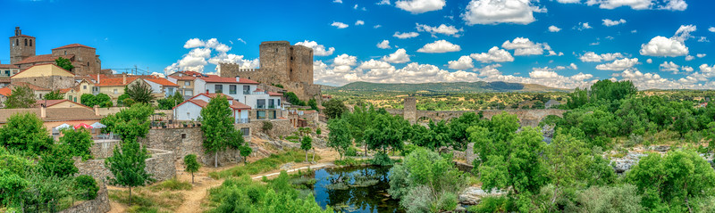 Panoramic view of Puente del Congosto, province of Salamanca, Spain.