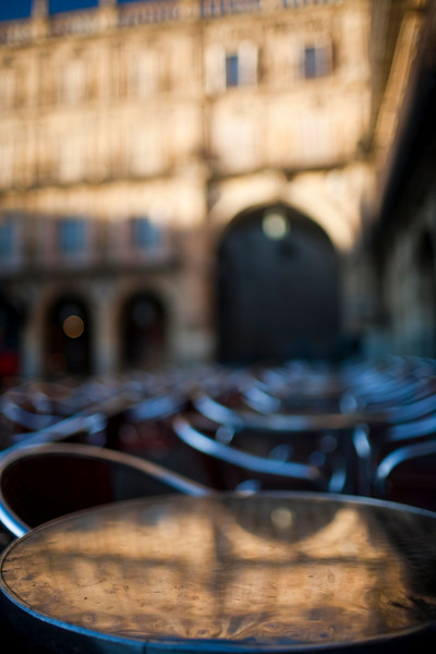 Restaurant tables on Plaza Mayor in the early morning, town of Salamanca, autonomous community of Castilla and Leon, Spain