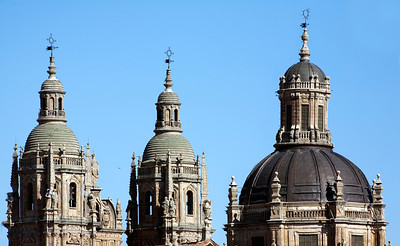 Twin towers and dome tops, Clergy church, town of Salamanca, autonomous community of Castilla and Leon, Spain