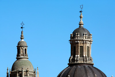 Detail of Clergy church dome and bell tower, town of Salamanca, autonomous community of Castilla and Leon, Spain