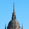 Detail from the bell tower top, New Cathedral, town of Salamanca, autonomous community of Castilla and Leon, Spain