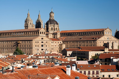 Salamaca cityscape with the huge buildings of the Pontifical University and the Clergy church on the background, town of Salamanca, autonomous community of Castilla and Leon, Spain