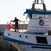 Fishing boat mooring at Bonanza port. Town of Sanlucar de Barrameda, province of Cadiz, Andalusia, Spain.