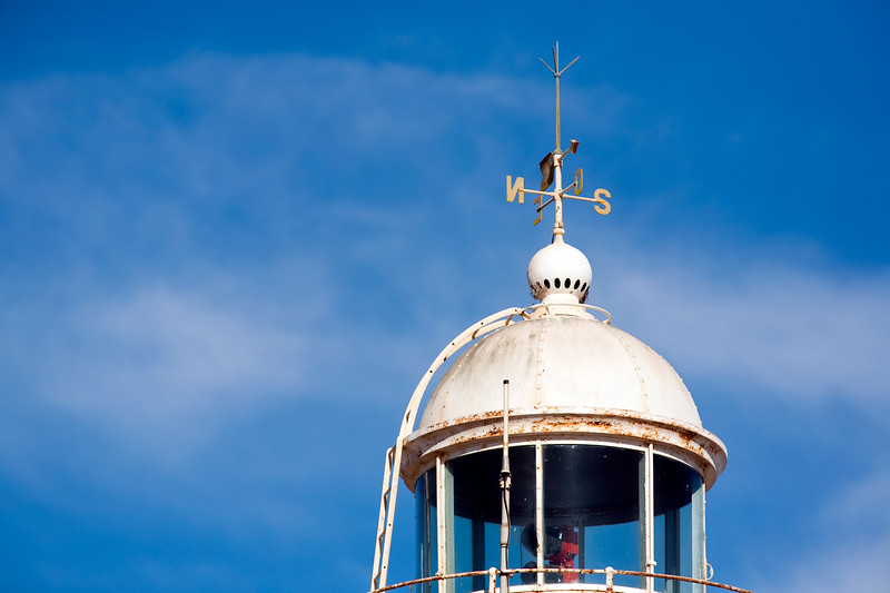 Top of an old lighthouse. Bonanza port, town of Sanlucar de Barrameda, province of Cadiz, Andalusia, Spain.