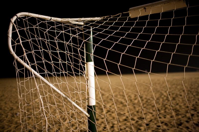 Football goal on the beach. Town of Sanlucar de Barrameda, province of Cadiz, Andalusia, Spain.