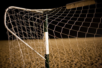 Football goal on the beach. Town of Sanlucar de Barrameda, province of Cadiz, Andalusia, Spain.