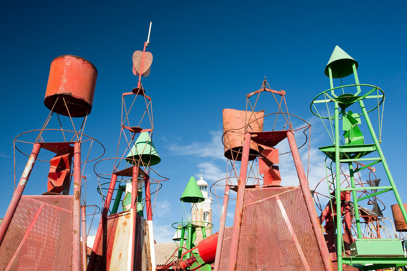 Old buoys, Bonanza port, town of Sanlucar de Barrameda, province of Cadiz, Andalusia, Spain.