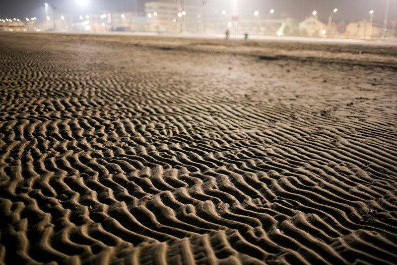 Ripples on the beach sand during low tide. Town of Sanlucar de Barrameda, province of Cadiz, Andalusia, Spain.