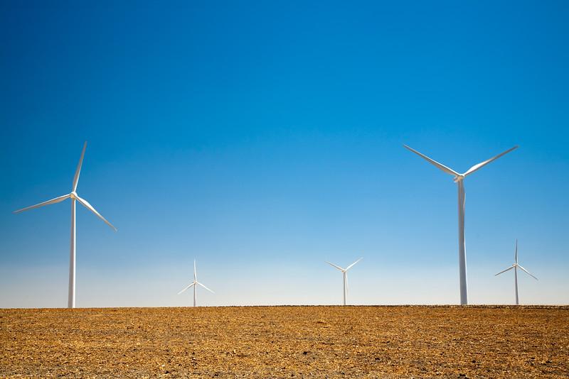 Electric generating windmills, town of Sanlucar de Barrameda, province of Cadiz, Andalusia, Spain.