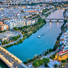 Aerial view of downtown Seville (Spain). Photo taken with a tilted lens for a shallower depth of field.