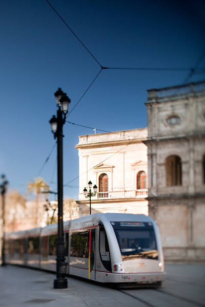 Tram, Seville, Spain. Tilted lens used for shallower depth of field.