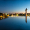 Panoramic view of the Guadalquivir river with the Schindler Tower and Torre Sevilla skyscraper on the right bank, Seville. Spain. Very high resolution file.