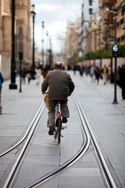Cyclist riding on  the streetcar track, Constitution Avenue, Seville, Spain