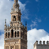 the Giralda tower, Renaissance work by Hernan Ruiz over the Moorish minaret, Seville, Spain