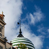 Detail from the top of buildings in Regionalist style, Constitution Avenue, Seville, Spain