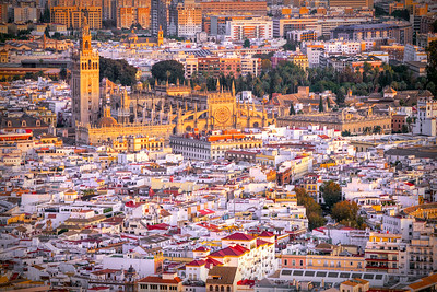 Aerial view of Seville downtown, with the Giralda tower, the Cathedral and the Archivo de Indias building, among other landmarks, Spain.