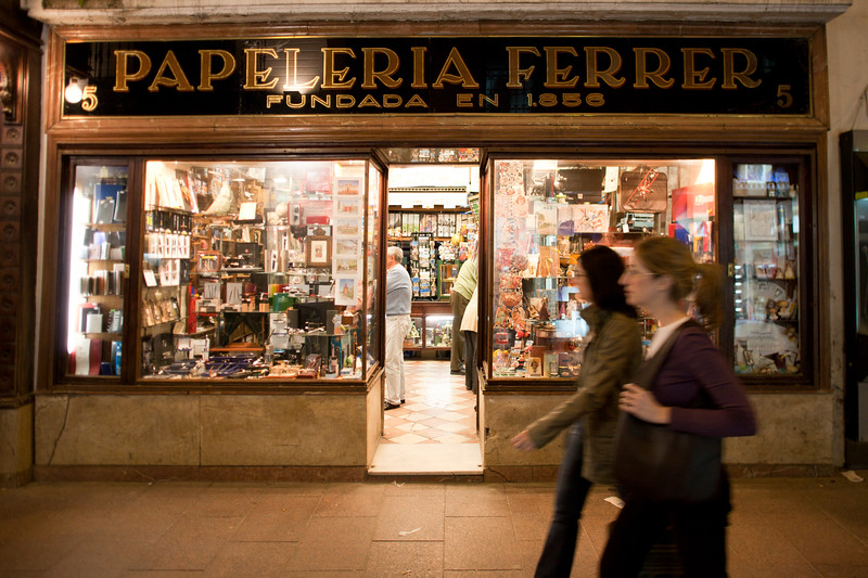 Traditional stationery store on Sierpes Street, Seville, Spain