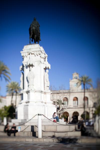 Statue of the king Fernando III, Seville, Spain. Tilted lens used for shallower depth of field.