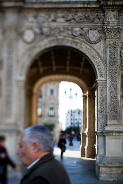 City Hall Archway, Seville, Spain. Tilted lens used for shallower depth of field.