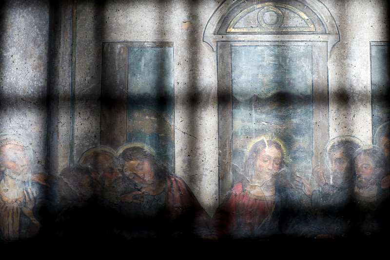Fresco painting (18th century), copy of Leonardo's Last Supper, San Lorenzo church, town of Seville, autonomous community of Andalusia, southern Spain