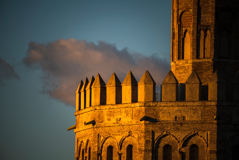 Torre del Oro (Tower of Gold, 13th century Moorish building), detail. Seville, Spain.