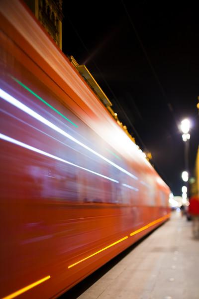Tram on Constitution Avenue, Seville, Spain