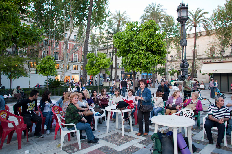Neighbours from San Bernardo quarter protesting against real estate speculation in front of Seville's City Hall, Spain