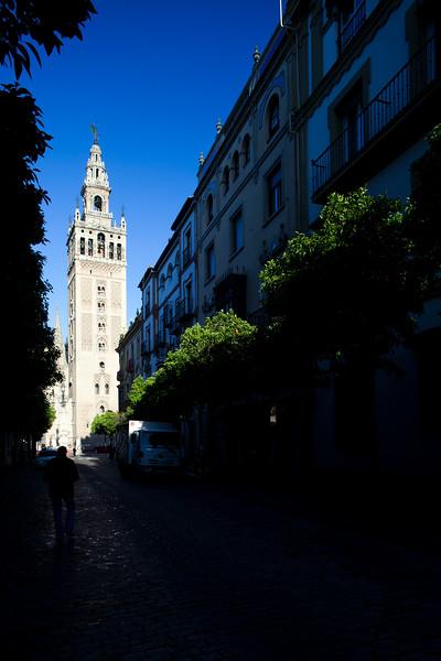 The Giralda Tower from Mateos Gago street, Seville, Spain