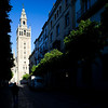 The Giralda Tower from Mateos Gago street, Seville, Spain