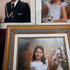 First Communion photographs on a shop window, Seville, Spain