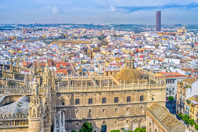 Westward view of the city of Seville from the Giralda tower, Spain.