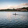 C-1 canoeist on the Guadalquivir river, Seville, Spain. A tilted lens was used for a shallower depth of field.