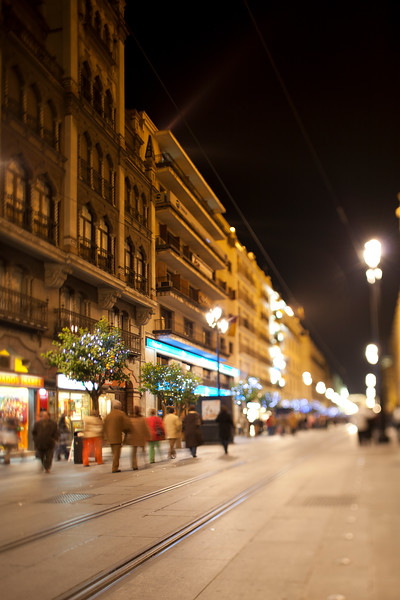Constitution Avenue by night, Seville, Spain. Tilted lens used for shallower depth of field.