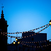 Paper lanterns on the Triana bridge for the Vela de Santa Ana festival, Seville, Spain