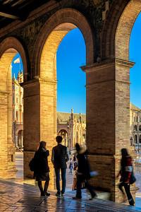 Visitors at Plaza de España, Seville, Spain.