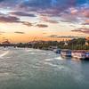 Panoramic view of the Guadalquivir River at dusk from San Telmo Bridge,  Seville, Spain