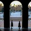 Standing couple, Plaza de España, Seville, Spain.